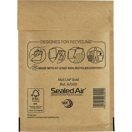 Sealed Air Mailing Bags a/000 Brown plain peel and seal 100 pieces