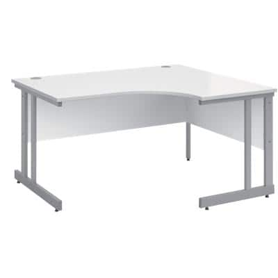 Corner Right Hand Design Ergonomic Desk with White MFC Top and Silver Frame Adjustable Legs Momento 1400 x 1200 x 725 mm
