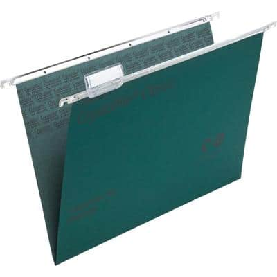 Rexel Crystalfile Classic Vertical Suspension File 78046 Foolscap V Base 15 mm 230 gsm Green 100% Recycled Manilla Pack of 50