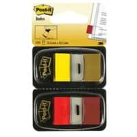 Post-it Index Flags 680-RY2 Red, Yellow Plain 25,4 x 43,2 mm 2 Pieces of 50 Sheets