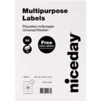 Niceday Multipurpose Labels Self Adhesive 105 x 57 mm White 100 Sheets of 10 Labels