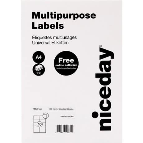Niceday Multipurpose Labels White 57 x 105 mm 100 sheets of 10 labels