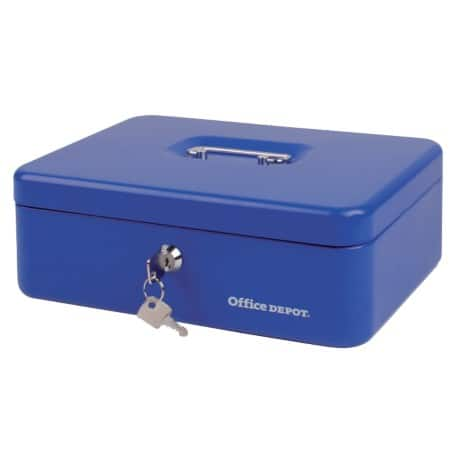 Office Depot Cash Box H 100 mm x W 300 mm x D 217 mm Blue