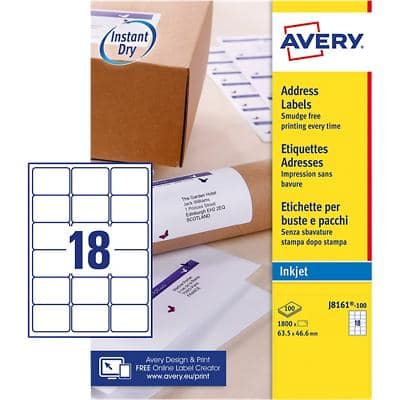 Avery J8161-100 Address Labels Self Adhesive 63.5 x 46.6 mm White 100 Sheets of 18 Labels