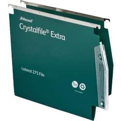 Rexel Crystalfile Extra Lateral 275 mm Files Standard Capacity Green - Box 25
