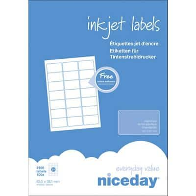 Niceday Inkjet Labels Self Adhesive 63.5 x 38.1 mm White 100 Sheets of 21 Labels