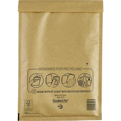 Mail Lite Mailing Bags F/3 79gsm Gold Plain Peel and Seal 330 x 220 mm Pack of 50