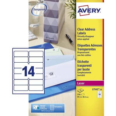 Avery L7563-25 Address Labels Self Adhesive 99.1 x 38.1 mm Clear 25 Sheets of 14 Labels