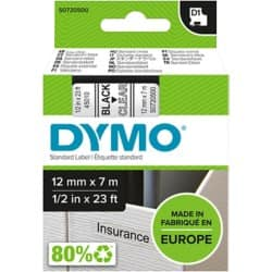 DYMO Label Tape 45010 12 mm x 7 m black / transparent