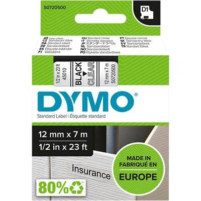 DYMO D1 45010 Label Tape, Authentic, Self Adhesive, Black Print on Clear 12 mm x 7 m