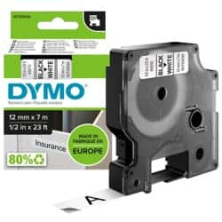 DYMO Labelling Tape 45013 12 mm x 7 m Black / White