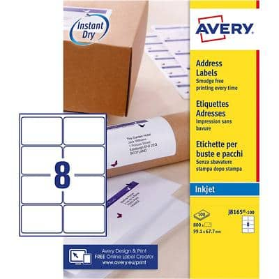 Avery J8165-100 Parcel Labels Self Adhesive 99.1 x 67.7 mm White 100 Sheets of 8 Labels