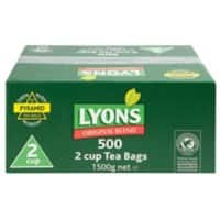 Lyons original blend tea bags - box of 500 2 cup