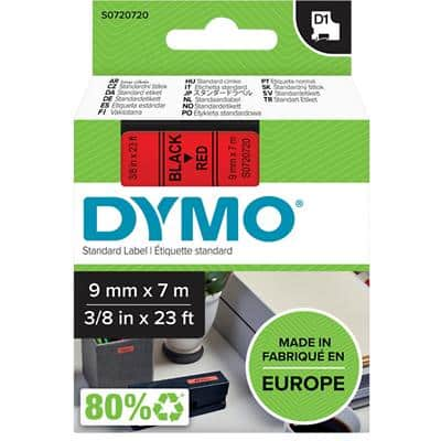 DYMO D1 40917 Label Tape, Authentic, Self Adhesive, Black Print on Red 9 mm x 7 m