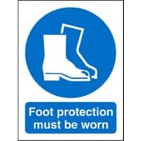 Mandatory Sign Foot Protection Must Be Worn Plastic 20 x 15 cm