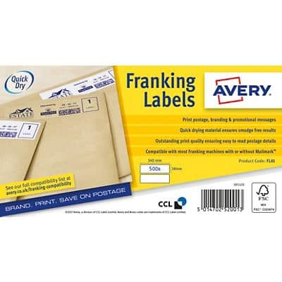 AVERY Franking Labels FL01 White Special format 140 x 38 mm 500 Sheets of 2 Labels