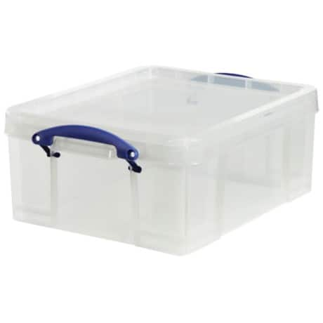 Really Useful Box polypropylene plastic storage box 18 L (200 x 390 x 480mm H x W x D) in Clear