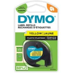 Dymo Letratag Label Plastic Yellow 12 mm x 4 m