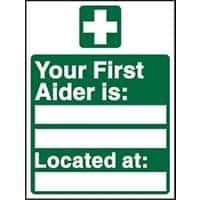 First Aid Sign First Aiders Vinyl 20 x 15 cm