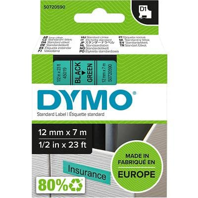 DYMO D1 45019 Label Tape, Authentic, Self Adhesive, Black Print on Green 12 mm x 7 m