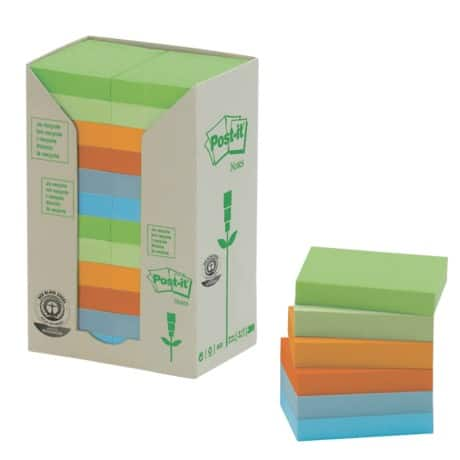 Post-it Recycled Sticky Notes Towers 653-1RPT Assorted No 38 x 51 mm 70gsm 24 pieces of 100 sheets