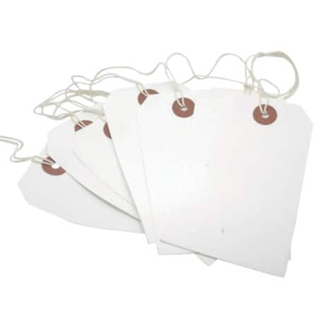 Coloured String Tags - White