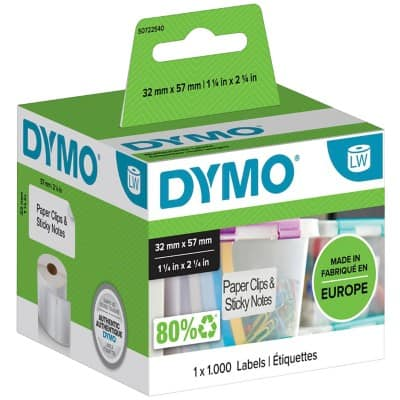 DYMO Multi Purpose Labels 11354 32 x 57 mm White 1000 Labels
