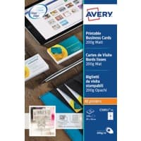 Avery Mono Laser Business Cards C32011-25 85 x 54 mm 200gsm White 25 Sheets of 10 Label