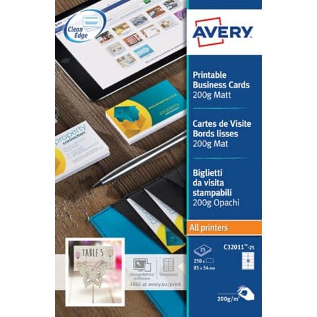Avery Mono Laser Business Cards C32011-25 A4+ 200gsm White 25 sheets of 10 pieces