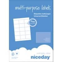 Niceday Multipurpose Labels Self Adhesive 70 x 50.8 mm White 1500 Labels 100 Sheets of 15 Labels