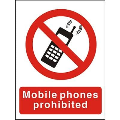 Prohibition Sign Mobile Phones Prohibited Self Adhesive PVC 15 x 20 cm