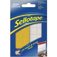 Sellotape Sticky Hook and Loop Pads Permanent 20 x 20mm Yellow, White Pack of 24