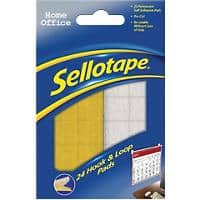 Sellotape Sticky Hook and Loop Pads Pre Cut White, Yellow Pack of 24