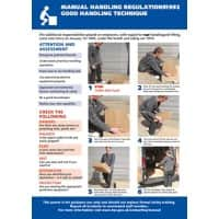 Health & Safety Laminated Manual Handling Poster A2 (594 x 420 mm)