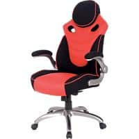 Realspace Basic Tilt Gaming Chair with 2D Armrest and Adjustable Seat HLC-1455 Bonded Leather Black & Red