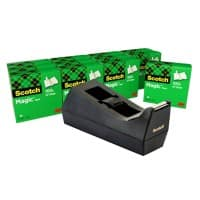 Scotch Tape Dispenser + 12 Rolls of Invisible tape SM12 Black