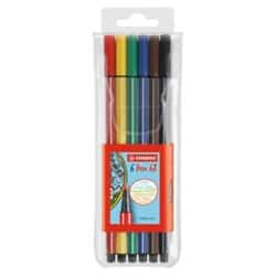 STABILO Pen 68 Fibre Tip Pen pack of 6 Assorted Colours