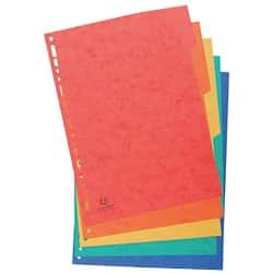 Europa Pressboard Dividers Coloured, A4 5 Part Blank Set