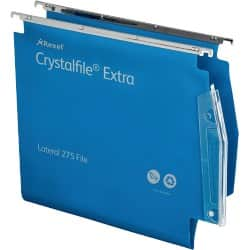 Rexel Crystalfile Extra Lateral 275 mm Files Standard Capacity Blue - Box 25