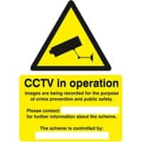 Warning Sign Warning CCTV Cameras In Constant Operation PVC 150 x 200 mm