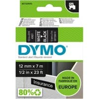 DYMO Labelling Tape 45021 12 mm x 7 m White , Black
