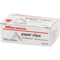 Office Depot Paper Clips Small 25 mm 100 Per Box