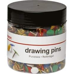 Office Depot Multi-Coloured Drawing Pins 9.5 mm (1000/tub)