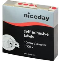 Niceday Coloured Dot Labels Red Self Adhesive Ø 10 mm 1000 Labels per Pack