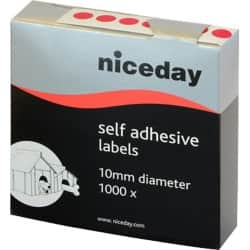 Niceday Coloured Labels Red 1000 labels per pack