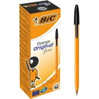 BIC Orange Original Fine Ballpoint Pen 0.3 mm Black Pack of 20