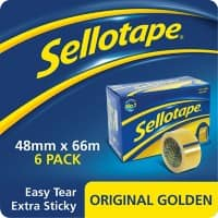 Sellotape Tape Original Golden Easy Tear Polypropylene 48mm x 66m Transparent 6 Rolls