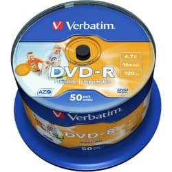 Verbatim DVD-R 16X 4.7 GB Spindle (50 Pack)