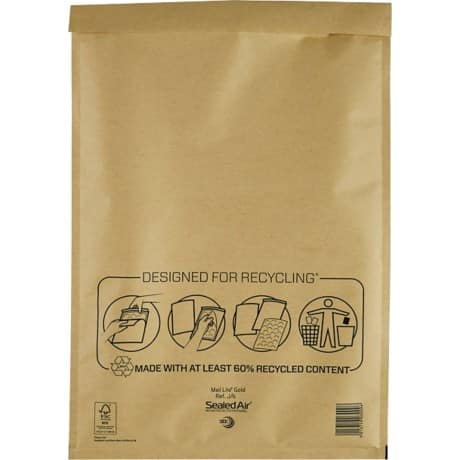 Sealed Air Mailing Bags j/6 79gsm Gold plain peel and seal 50 pieces
