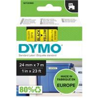 DYMO D1 53718 Label Tape, Authentic, Self Adhesive, Black Print on Yellow 24 mm x 7 m